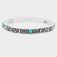 Oval Turquoise Antique Metal Stretch Bracelet