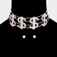 Crystal Rhinestone Pave Dollar Sign Choker Necklace