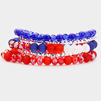 5PCS - Multi Bead Stretch Layered Bracelets