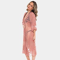 Embroidery Cover Up Long Kimono Cardigan