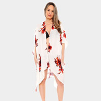Long Light Floral Print Topper Cover-Up Kimono Cardigan