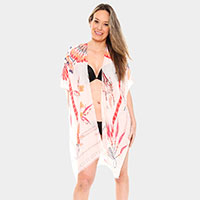 Long Light Feathers Print Topper Cover-Up Kimono Cardigan