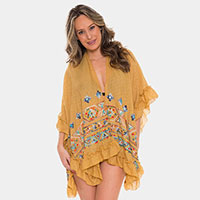 Embroidered Colorful Pattern Ruffled Cover-up Cardigan Poncho