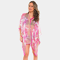 Paisley Print Button Cover-up Cardigan Poncho