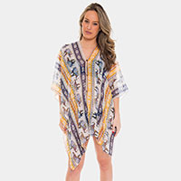 Elephant Print Button Cover-up Cardigan Poncho