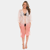 Sheer Mesh Embroidered Long Cover-up Cardigan Poncho