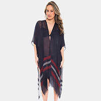 Two Tone Line Long Cover-up Cardigan Poncho
