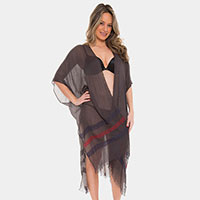 Two Tone Color Stripe Long Cover-up Cardigan Poncho