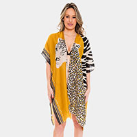 Leopard Print Cover-up Cardigan Poncho
