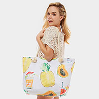 Summer Fruit Print Beach Bag