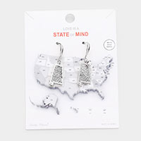 White Gold Dipped Alabama State Earrings