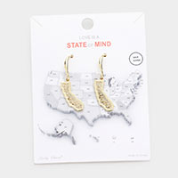 Gold Dipped California State Earrings