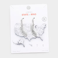 White Gold Dipped California State Earrings