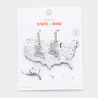 White Gold Dipped Louisiana State Earrings