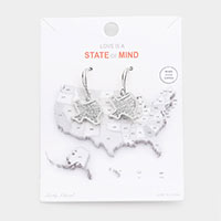 White Gold Dipped Texas State Earrings