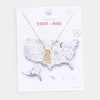 Gold Dipped Alabama State Pendant Necklace