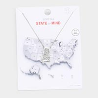 White Gold Dipped Alabama State Pendant Necklace