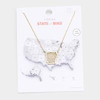 Gold Dipped Arkansas State Pendant Necklace