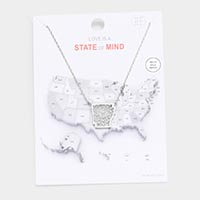 White Gold Dipped Arkansas State Pendant Necklace