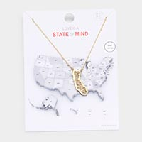 Gold Dipped California State Pendant Necklace