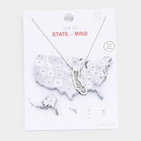 White Gold Dipped California State Pendant Necklace