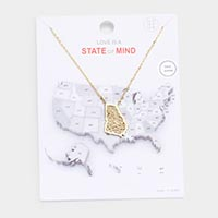 Gold Dipped Georgia State Pendant Necklace