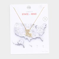 Gold Dipped Louisiana State Pendant Necklace