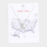 White Gold Dipped Louisiana State Pendant Necklace