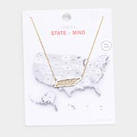 Gold Dipped Tennessee State Pendant Necklace