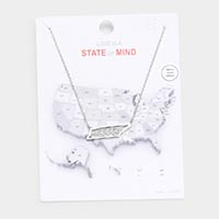 White Gold Dipped Tennessee State Pendant Necklace