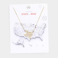 Gold Dipped Texas State Pendant Necklace