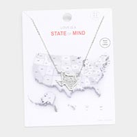 White Gold Dipped Texas State Pendant Necklace