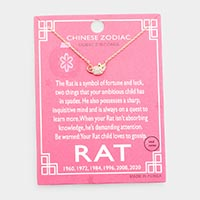 Chinese Zodiac Gold Dipped CZ Rat Pendant Necklace