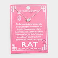 Chinese Zodiac White Gold Dipped CZ Rat Pendant Necklace