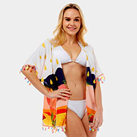 Tropical island Cover-up Poncho Cardigan
