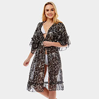 Ditsy Leaf Half Ruffled Cover-up Cardigan Poncho