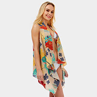 Tropical Floral Pattern Print Cover-up Vest Poncho