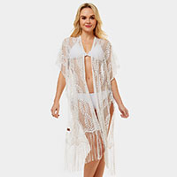 Sheer Lace Fringe Cover-up Cardigan Poncho