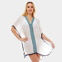 Embroidered Cover-up Kaftan Poncho