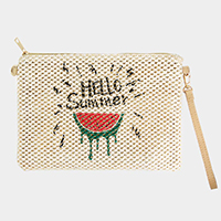 Watermelon Print Straw Crossbody / Clutch Bag