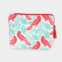 Bird and Leaf Tassel Pouch / Cosmetic Bag