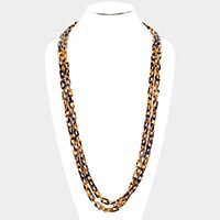 Celluloid Acetate Rectangle Link Long Necklace