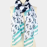 Anchor and Stripe Print Scarf
