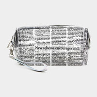 Clear Newspaper Print Pouch Bag