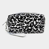 Clear Leopard Print Pouch Bag