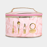 Marble Round Make up Pouch Bag