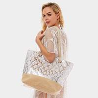 Metallic Snakeskin Beach Bag