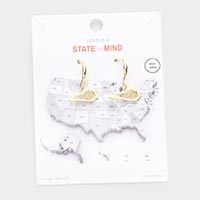 Gold Dipped Kentucky State Earrings