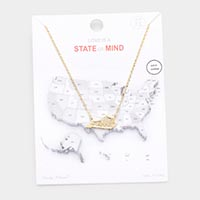 Gold Dipped Kentucky State Pendant Necklace