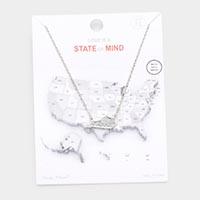 White Gold Dipped Kentucky State Pendant Necklace